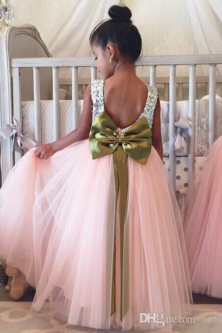 Sparkling Flower Girls Dresses Sequins Ribbon Big Bow Backless A Line Tulle Girls Pageant Dress Floor Length Kids Formal Wear Party Dress