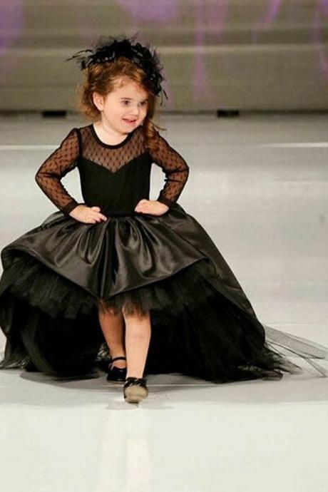 Black Pageant Dresses For Girls Jewel Long Sleeve Flower Girl Dresses For Toddlers Teens Kids Formal Wear Party Communion Dresses