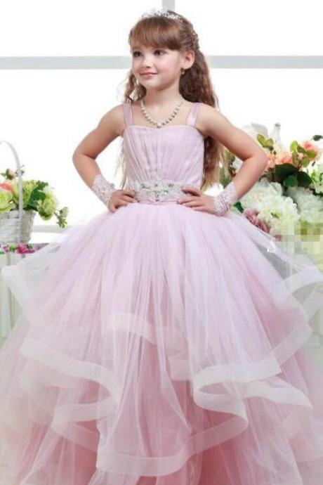 Lovely Lace Flower Girls Dresses Knee-Length Crew Sleeveless Zipper Back Summer Style Lace Flower Girls Dresses Fashion