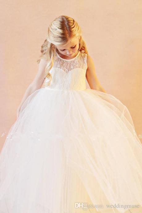 2016 Vintage Flower Girl Dresses Wedding Gowns Floor Length Lace White Organza Flowergirl dresses for Wedding