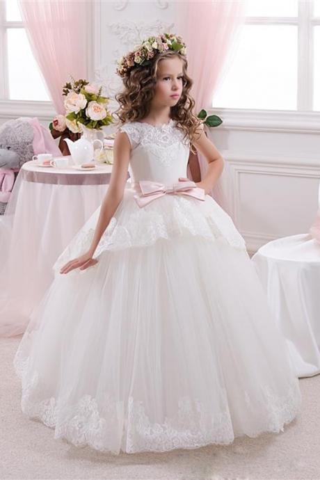 Elegant Lace Ball Gown Little Bridal Flower Girl's Dresses For Wedding Party Princess Ruffle Bow Floor Length Tulle Pageant Dresses