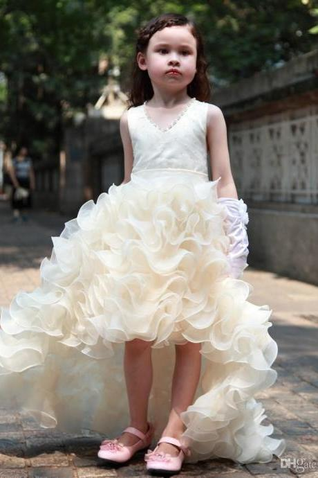 2016 Charming Flower Girls Dresses For Weddings Cheap High Low Ruffles Princess Party Girls Pageant First Communion Dress For Kids Teens